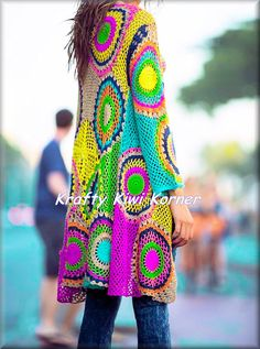 Crochet lace Circular and Geometric Motifs Patch Work Jacket/Cardigan - Made to…