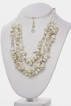 Pebble Beach Necklace & Earring Set White Colored Fashion Jewelry.  Free Shipping.