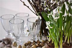 Flowers and glass for Easter by Lisbeth Dahl Copenhagen Spring/Summer 13. #LisbethDahlCph #Easter #Decoration #Flowers