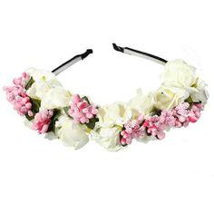 Katara weiß Blumen Boho Blumenstirnband Garland Festival Hochzeit Braut Haarband Kopfband Kranz, 1er Pack (1 x 1 Stück)