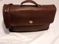 Cowhide Leather Briefcase Attache Shoulder Bag Messenger in Brown