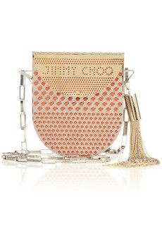 Jimmy Choo Milla perforated metal and leather shoulder bag | NET-A-PORTER