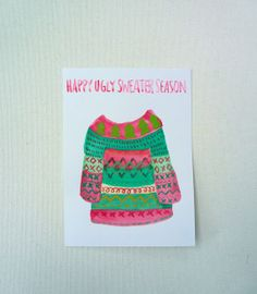 Ugly Sweater Season Card Winter Postcard Holiday by StudioFroezel.
