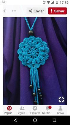 Tri Sukowati, Blue Necklace crochet – Knitting world Crochet Necklace Pattern, Crochet Jewelry Patterns, Crochet Bracelet, Bead Crochet, Crochet Accessories, Crochet Motif, Crochet Designs, Crochet Earrings, Crochet Buttons