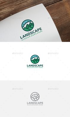 Buy Mountains Landscape Logo by on GraphicRiver. Business Brochure, Business Card Logo, Landscaping Logo, Logo Garden, Best Logo Design, Graphic Design, Branding, Text Fonts, Creative Sketches