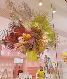 """Clare - The Flowergirl on Instagram: """"It's always pretty cool when the tradies coordinate with your installation.💛 @caasi_boutique delicious new Boutique opened today…"""" Pretty Cool, Rainbow, Bright, Boutique, Cool Stuff, Plants, Editorial, Palette, Colour"""
