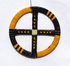Black and Yellow Porcupine Quilled Medicine Wheel by RedbushArt