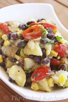 Black Bean Potato Salad with Oil Free Avocado Dressing. Great side for summer...Veganized by Substituting Agave syrup for honey