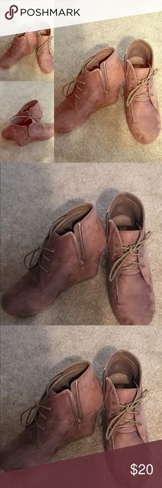 Trendy Tan Suede Booties!! Great look... $20 Great Comfy booties for the winter!! These trendy booties are everywhere! Tan Suede Tie up booties with a zipper side. Size 9 $20! Only worn once... Shoes Ankle Boots & Booties