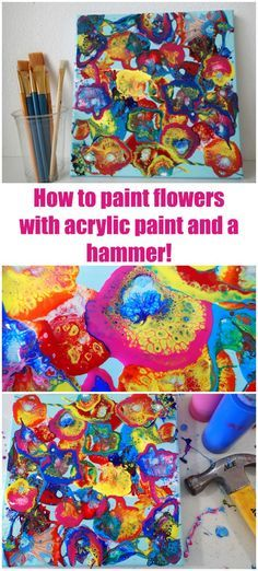 Acrylic paint hammer technique. Video tutorial for how to use the hammer technique to create amazing flower-like designs with acrylic paint. Got to try it soon!