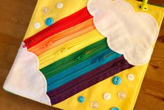 Rainbow Quiet Book 2 by Today I Felt Crafty - Lawn Mower Baby Sensory Board, Sensory Book, Diy Quiet Books, Felt Quiet Books, Sewing For Kids, Diy For Kids, Infant Activities, Activities For Kids, Indoor Activities