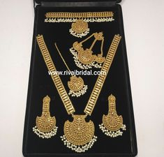 Gold plated high quality Bridal jewelry looks like real gold. Make to order according to requirements. 7 to 35 days world wide delivery. Real Gold Jewelry, Fancy Jewellery, Gold Jewellery Design, Pearl Jewelry, Diamond Jewellery, Indian Jewelry Sets, Indian Wedding Jewelry, Bridal Jewelry, Indian Bridal