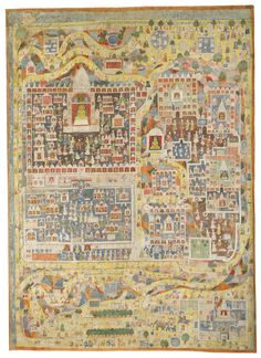 pilgramage picture of satrunjaya Pichwai Paintings, Mughal Paintings, Indian Paintings, Mount Abu, Southeast Asian Arts, New Orleans Museums, Illumination Art, Religious Icons, Cartography