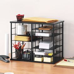 12-Slot Organizer for $61.27. Customizable storage can be configured to fit the needs of your home or office supplies. Removable shelves allow for customization of storage areas. Office Desk Organization, File Folder Organization, Desktop Organization, Storage Organization, Office Supply Storage, File Organiser, Home Office Storage, File Folders, Wooden Desk Organizer