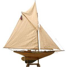 c.1880 Large Antique English Pond Yacht