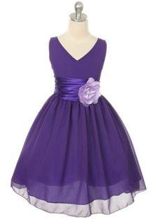 V-Neckline Chiffon Flower Girl Dress in Purple and Lilac