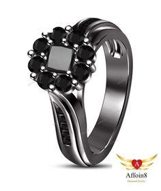 0.90 CT Princess AAA Diamond Women's Flower Shape Engagement Ring In 925 Silver #Affoin8 #WomensFlowerShapeEngagementRing