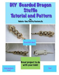 DIY Bearded Dragon Stuffie Sewing Pattern and Tutorial by SewThriftyCoutureLLC on Etsy