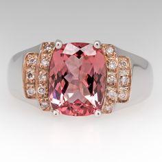 Cushion Cut 2 Carat Pink Tourmaline & Diamond Ring 18K