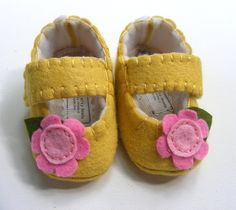 Wool Felt Mellow Yellow Baby Shoes with Flower