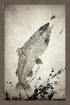 Description: Top quality Giclee print on high resolution Archive Paper Artwork by Dwight Hwang Professionally framed and mounted High quality durable non-warpin Japanese Art, Traditional Japanese, Japanese Design, Fly Fishing Books, Sumi Ink, Paper Artwork, Rainbow Trout, Fish Print, Painting