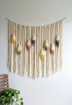 Yarn wall hanging. Macramé hanging. Large. by UpTheWallflower