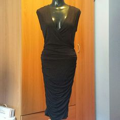 New Black Ruched Evening Dress.