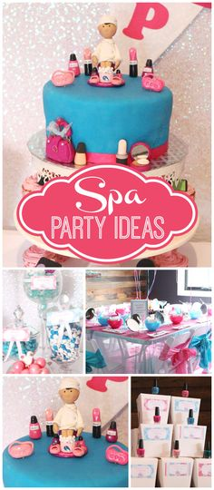Check out this blue and pink spa party! It has fun fondant toppers and party favors! See more party planning ideas at Spa Sleepover Party, Kids Spa Party, Pamper Party, Diy Birthday Party Favors, 13th Birthday Parties, 11th Birthday, Paris Birthday, Spa Cake, Festa Party