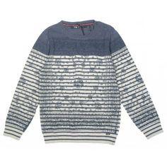 Para toda la temporada! Jersey en azul y beige de la marca IKKS en Chaquetas y Jerséis para Niño. Para los chicos también hay prendas ideales de tendencia   www.pepaonline.com