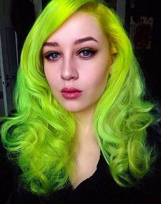 Girl with neon green wavy hair