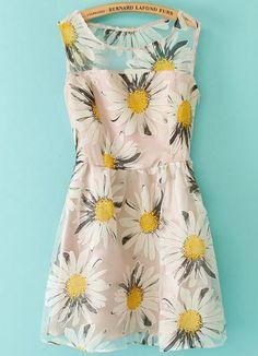 White Sleeveless Sunflowers Print Organza Dress - Fashion Clothing, Latest Street Fashion At Abaday.com