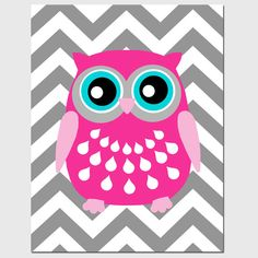 baby room grey and hot pink   ... Owl Silhouette Print - Hot Pink, Light PInk, Aqua, Gray, Black, White