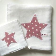 geburt set baby spucktuch waschlappen stern rosa von Mammica auf DaWanda.com