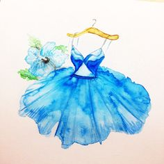 BLUE HIBISCUS SWING DRESS WITH MIDRIFF CUT OUT, fashion illustration by Grace Ciao