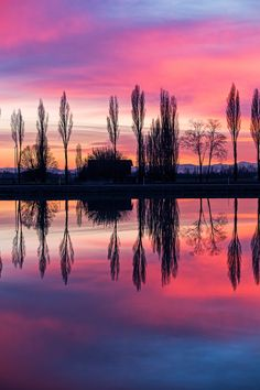 symmetries by melchiorre pizzitola on 500px...  #colors #lake #landscapes #nature #red #reflection #sunset #wildlife