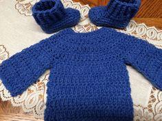 Handmade Crochet Sweater & Booties - Doll Preemie NB to 7 lbs - Blue Denim #Handmade #Pullover #Everyday
