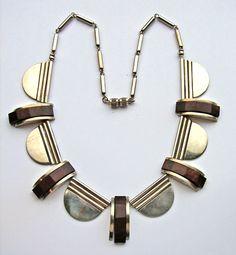 JAKOB BENGEL Attrib. Art Deco Necklace Chrome & galalith