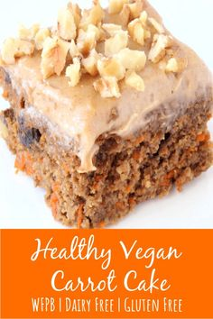 This easy healthy vegan carrot cake recipe is the best! It is gluten free, no oil, no eggs, and flourless - it uses oats and dates to sweeten. This simple recipe is whole food plant based and can also be made into muffins. The frosting has a coconut or Vegan Carrot Cakes, Carrot Recipes, Whole Food Recipes, Gluten Free Carrot Cake, Low Sugar Carrot Cake Recipe, Icing For Carrot Cake, Vegan Carrot Recipe, Dairy Free Cakes, Dairy Free Gluten Free Desserts