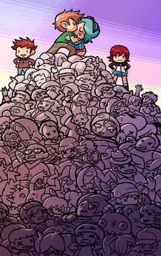 The Scott Pilgrim game is on sale on PSN until July 19! To celebrate, here's a pic from the level 2 end cutscene. I was able to fit in nearly every enemy from the game (along with some that were cut), plus fellow game staff Paul, Kinuko, Justin Cyr, Stephane Boutin, Jo Lavigne, and me. Also some crudely drawn facsimiles of Bryan Lee O'Malley and Edgar Wright. And a Mameshiba and Mecha Fetus. There's more cameos in the other cutscenes! Can you find them all? Also now that ...
