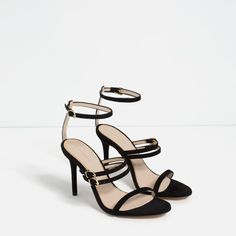 Image 3 of LEATHER STRAPPY SANDALS from Zara