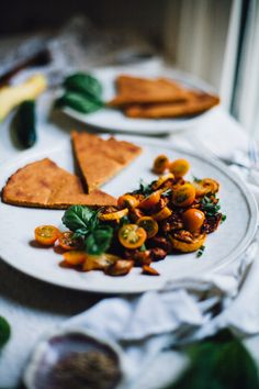 Smokey Roasted Eggplant and Squash with Millet Socca