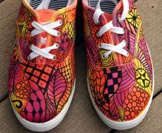 Zentangle sneakers! Outrageously colorful and fun! OOAK