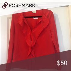 Kate spade red blouse Cute red blouse kate spade Tops Blouses