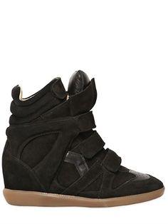 Isabel Marant Etoile 80mm Bekett Suede Wedge Sneakers on shopstyle.com