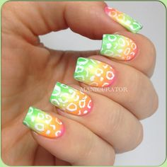 White leopard print on neon gradient / fade nail art design