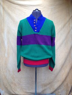 """Vintage 1980s Land's End Colorblock Sweater. Mens Large. Big bold colors on a henley-style sweater by Land's End.  Details Size: Large Chest: 50"""" Shoulders: 19"""" Sleeve: 26"""" Length: 26"""" Waist: 34""""  Label: Land's End, 100% Cotton, made in USA Colors: Green, Blue, Purple & Red"""