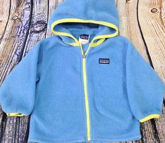 Patagonia 'Synchilla' Baby Fleece Hooded Jacket Size 18 Months Full Zip Blue  #Patagonia #Jacket #Everyday