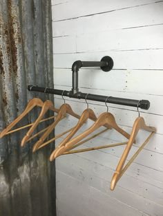 An industrial pipework cloakroom of hallway coats rail. Its elegant design allows it to take many coats in the minimum amount of space. The pipework is 3/4 BSP so has an outside diameter of approximately 27mm and is perfect for coat hangers to hook on and off with ease. The framing is coated in beeswax to give a beautiful sheen and remain clean to the touch. The item is handmade in our cowbarn workshop and we are happy to take custom requests for alternative sizes or different design...