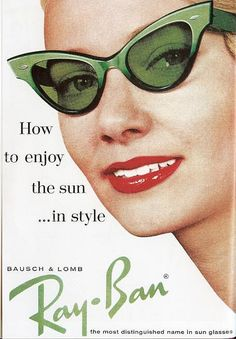 Green retro Ray-Ban sunglasses, 1950s vintage advertisement