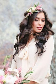 Complete your look with a romantic pink and green flower crown.
